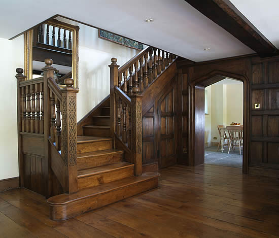 carved oak staircase
