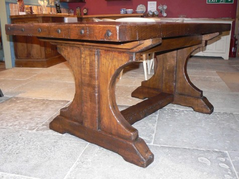 Trestle table made from reclaimed elm